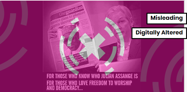 Scandalising Buhari: Meme showing Julian Assange posing with UK newspaper is doctored